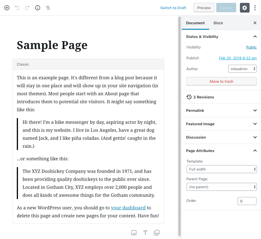 WordPress Gutenberg page editing screen